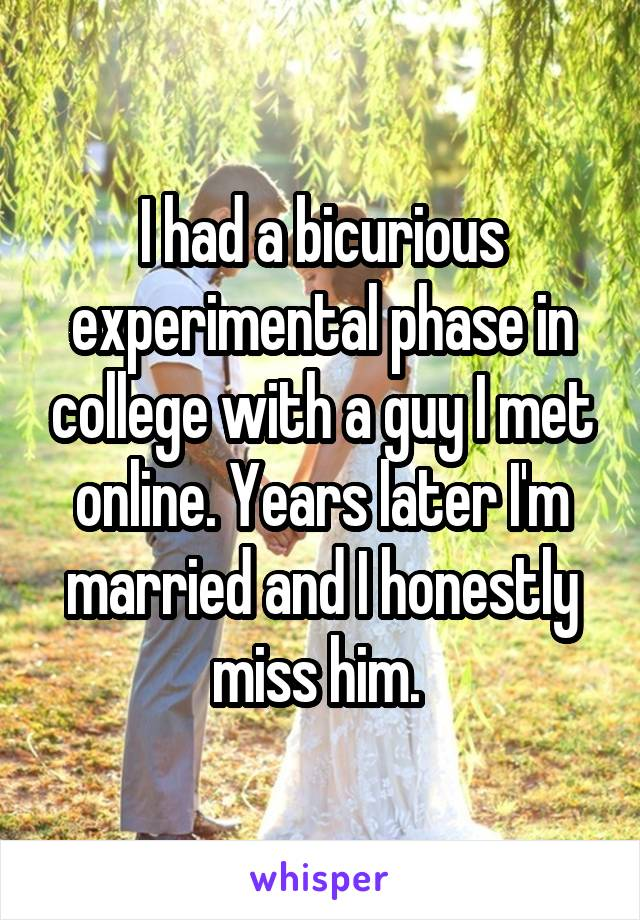 I had a bicurious experimental phase in college with a guy I met online. Years later I'm married and I honestly miss him.