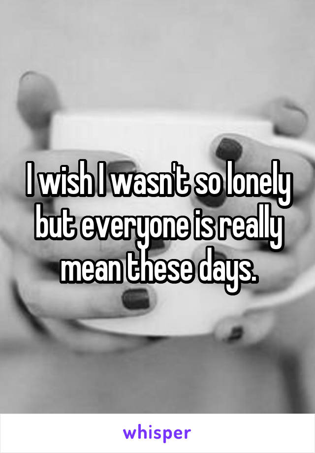 I wish I wasn't so lonely but everyone is really mean these days.