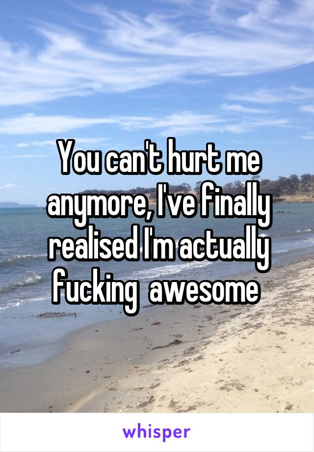 You can't hurt me anymore, I've finally realised I'm actually fucking  awesome
