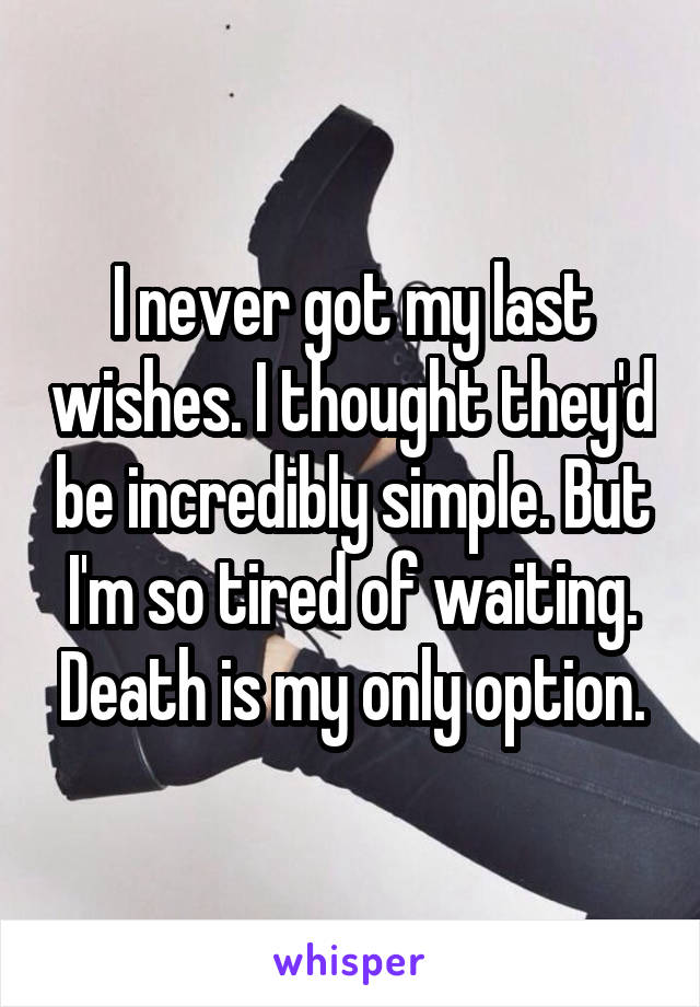 I never got my last wishes. I thought they'd be incredibly simple. But I'm so tired of waiting. Death is my only option.
