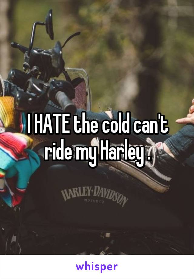 I HATE the cold can't ride my Harley .