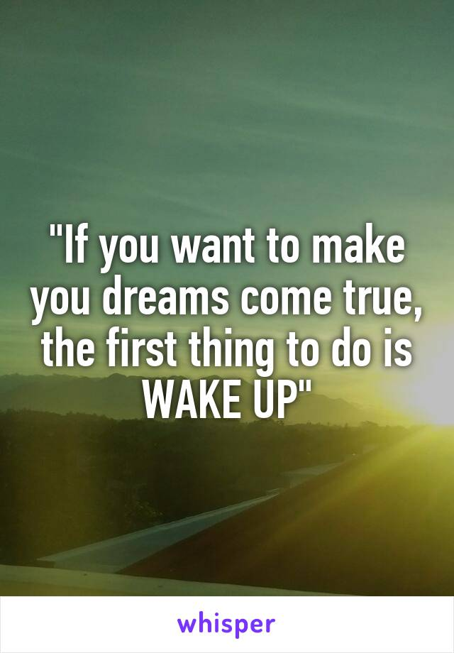 """If you want to make you dreams come true, the first thing to do is WAKE UP"""