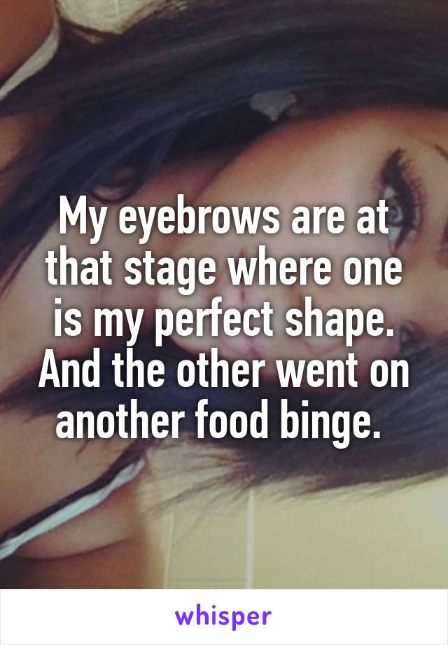 My eyebrows are at that stage where one is my perfect shape. And the other went on another food binge.