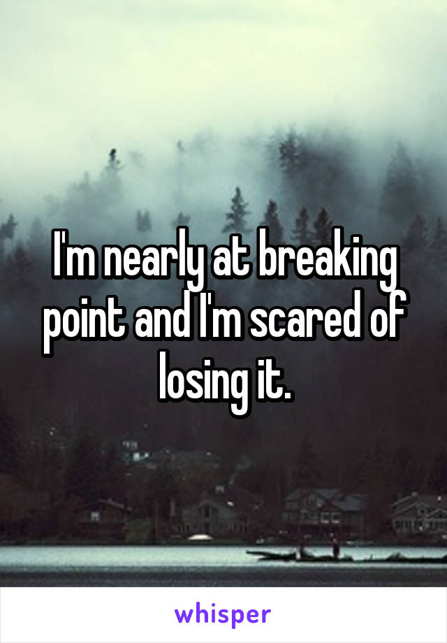 I'm nearly at breaking point and I'm scared of losing it.