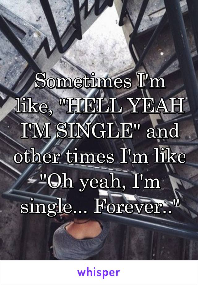 "Sometimes I'm like, ""HELL YEAH I'M SINGLE"" and other times I'm like ""Oh yeah, I'm single... Forever.."""