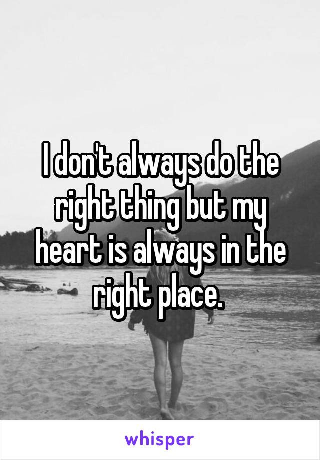 I don't always do the right thing but my heart is always in the right place.