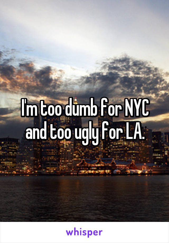 I'm too dumb for NYC and too ugly for LA.