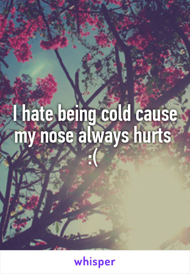 I hate being cold cause my nose always hurts  :(
