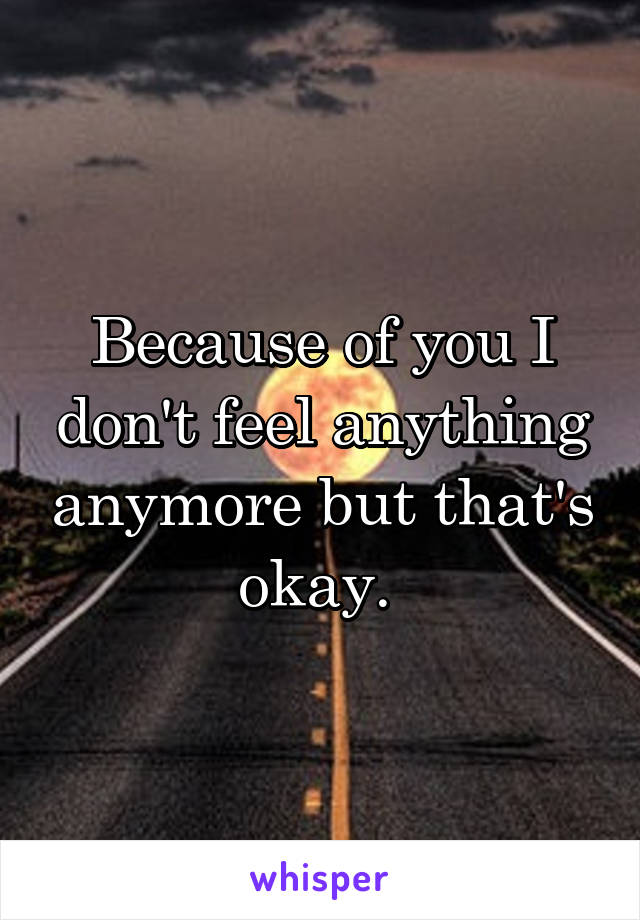Because of you I don't feel anything anymore but that's okay.