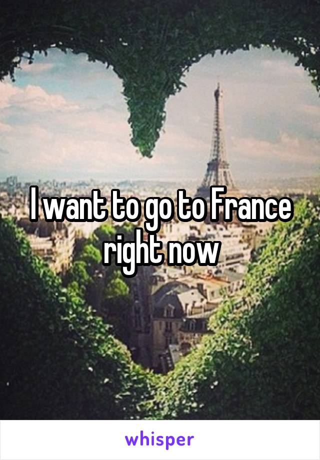 I want to go to France right now