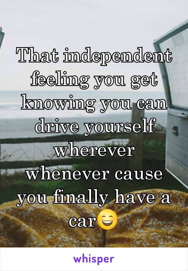 That independent feeling you get knowing you can drive yourself wherever whenever cause you finally have a car😄