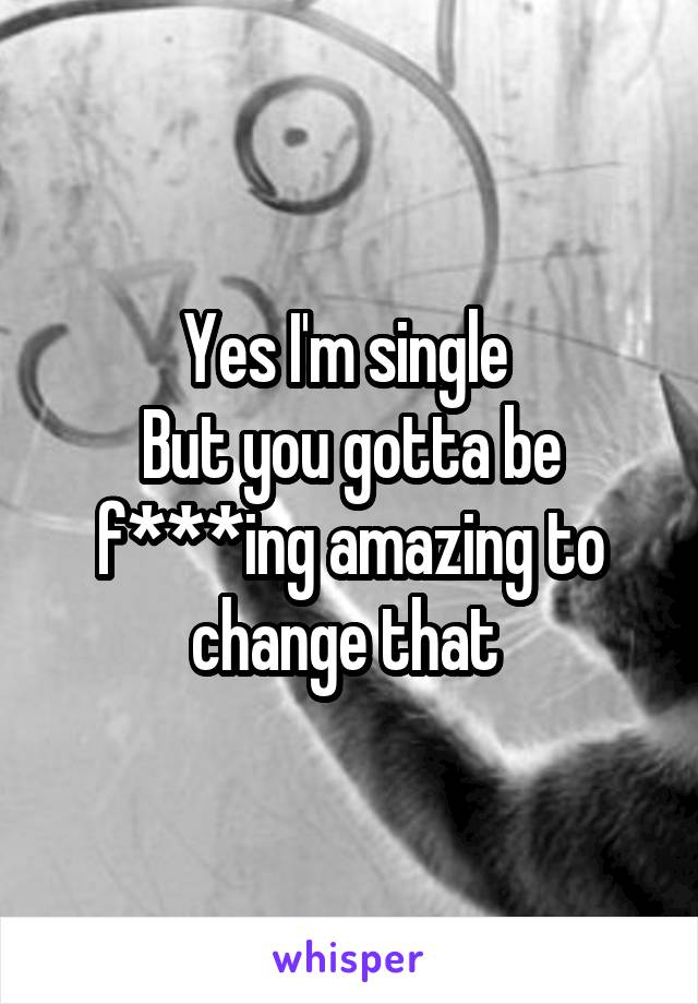 Yes I'm single  But you gotta be f***ing amazing to change that