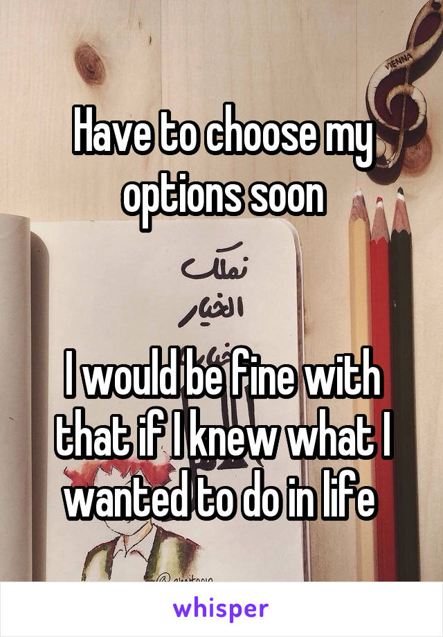 Have to choose my options soon   I would be fine with that if I knew what I wanted to do in life