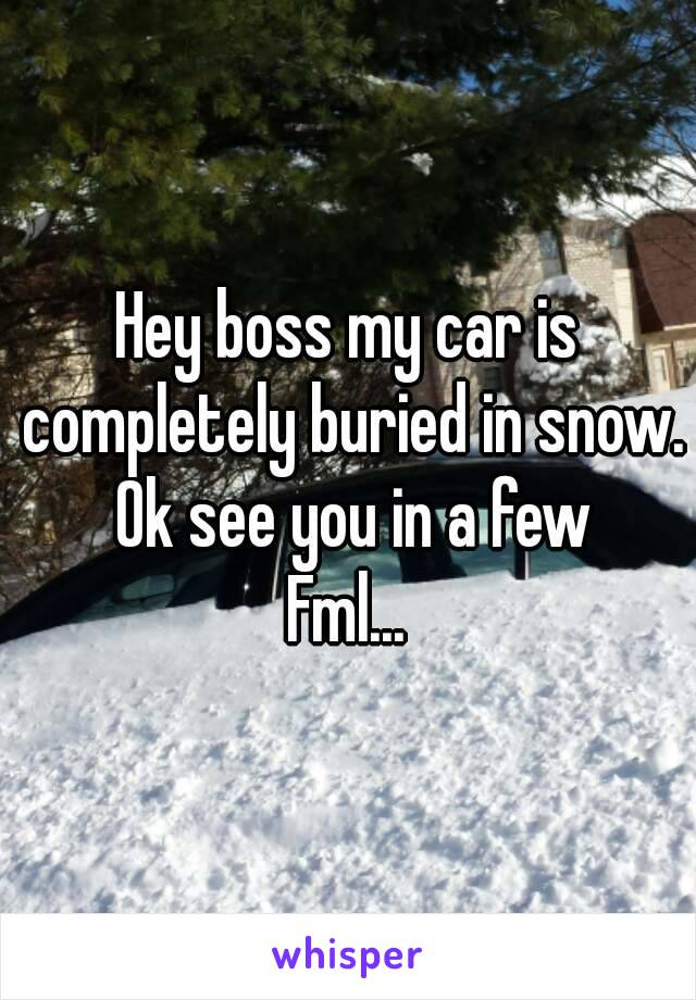Hey boss my car is completely buried in snow. Ok see you in a few Fml...