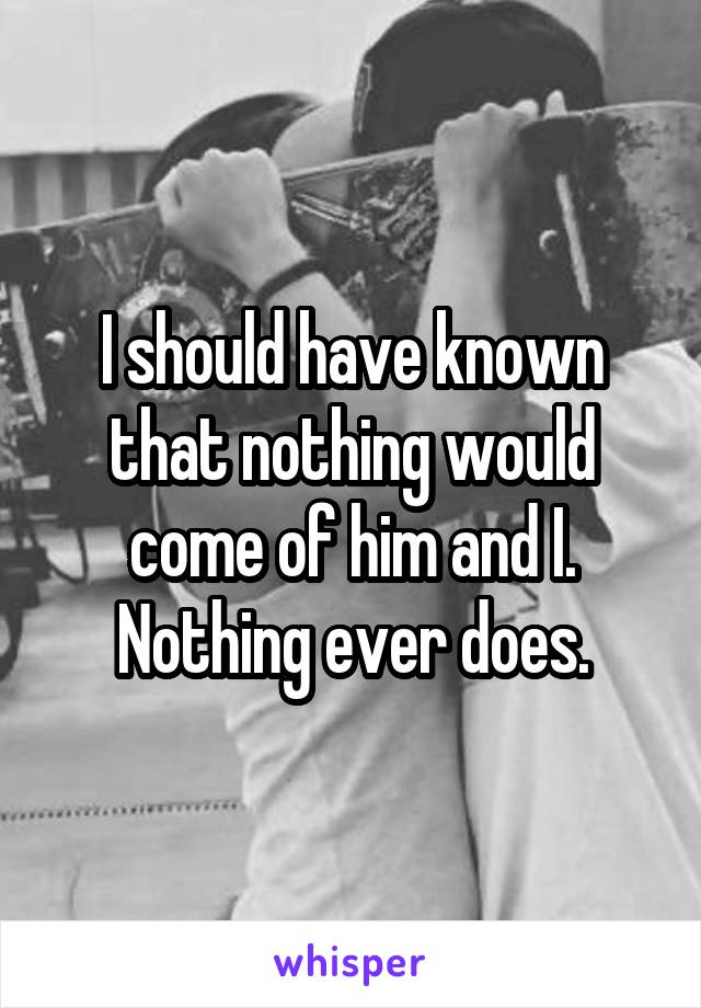 I should have known that nothing would come of him and I. Nothing ever does.