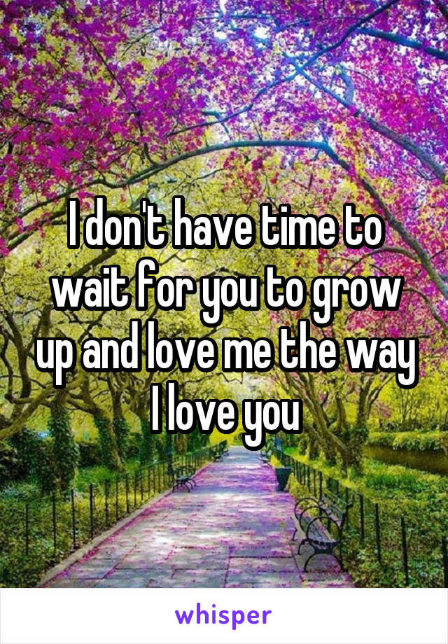I don't have time to wait for you to grow up and love me the way I love you