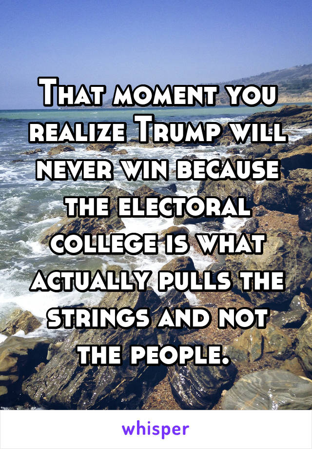 That moment you realize Trump will never win because the electoral college is what actually pulls the strings and not the people.