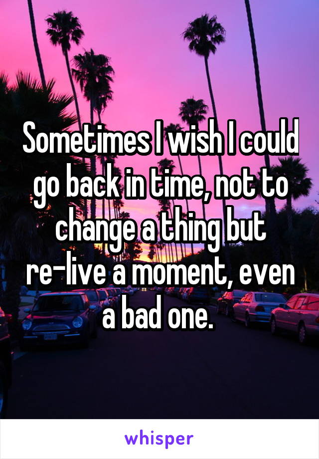 Sometimes I wish I could go back in time, not to change a thing but re-live a moment, even a bad one.