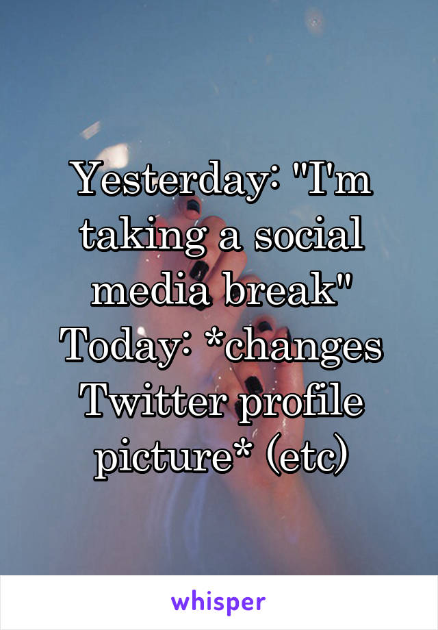 "Yesterday: ""I'm taking a social media break"" Today: *changes Twitter profile picture* (etc)"