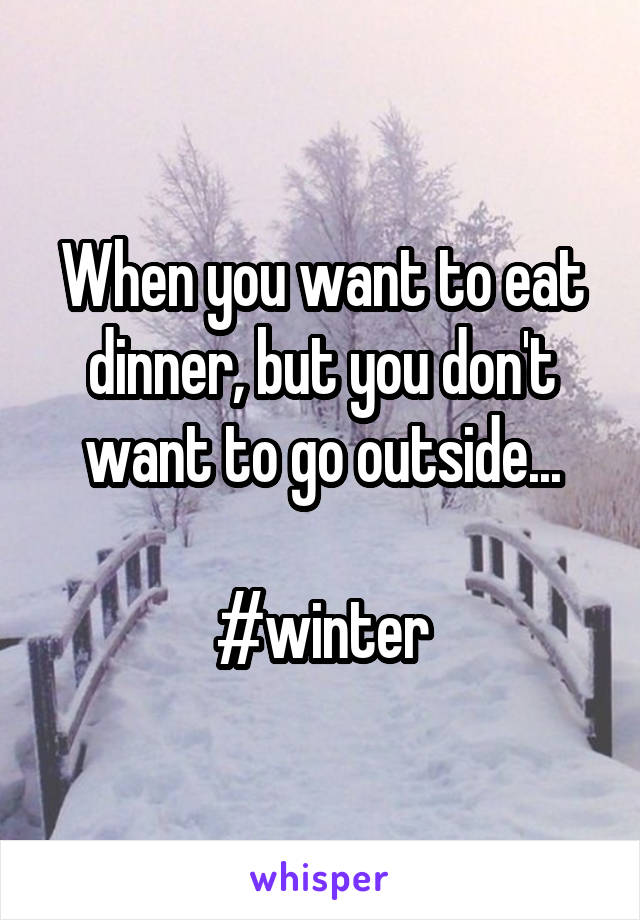 When you want to eat dinner, but you don't want to go outside...  #winter