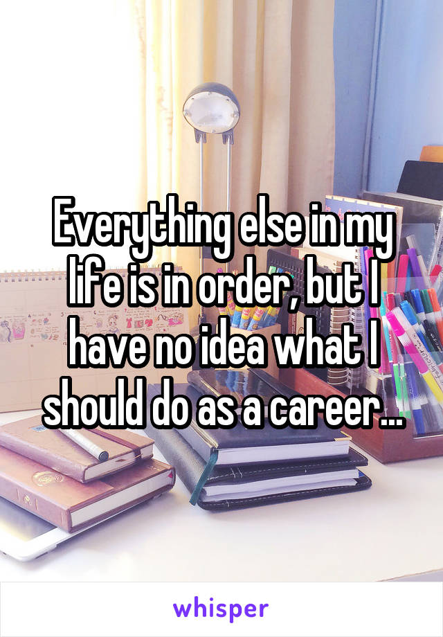 Everything else in my life is in order, but I have no idea what I should do as a career...