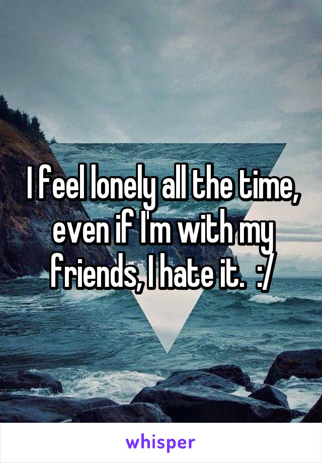 I feel lonely all the time, even if I'm with my friends, I hate it.  :/