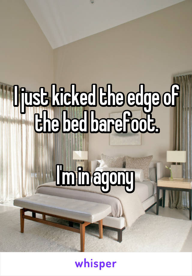I just kicked the edge of the bed barefoot.  I'm in agony