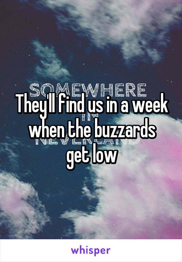 They'll find us in a week when the buzzards get low