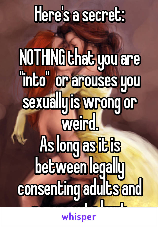 "Here's a secret:  NOTHING that you are ""into""  or arouses you sexually is wrong or weird. As long as it is between legally consenting adults and no one gets hurt"