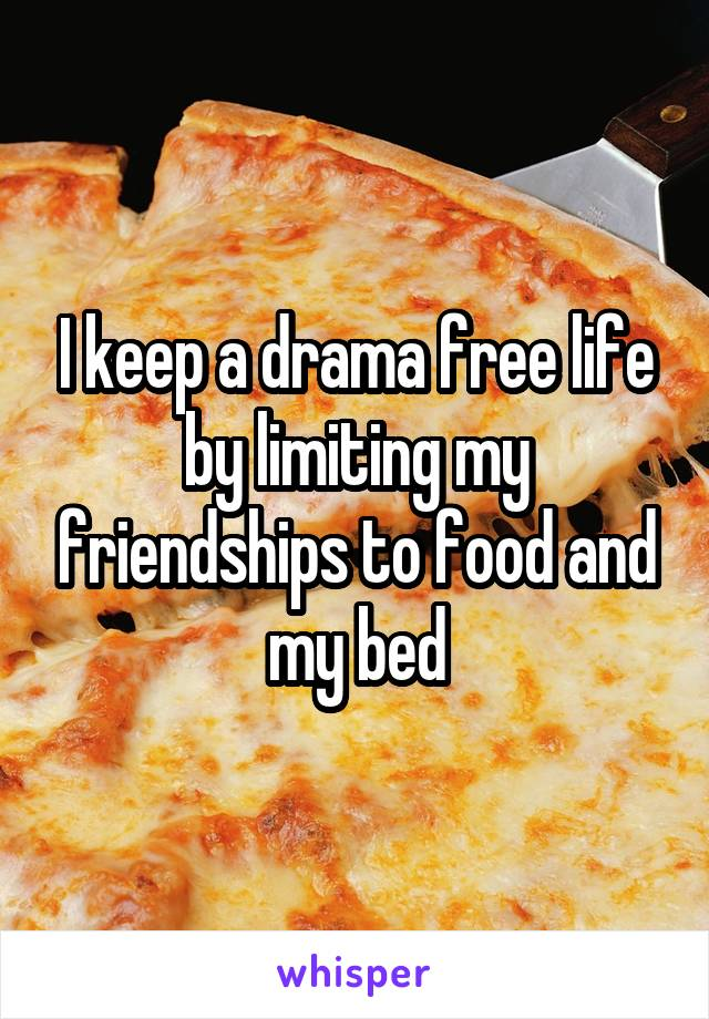 I keep a drama free life by limiting my friendships to food and my bed