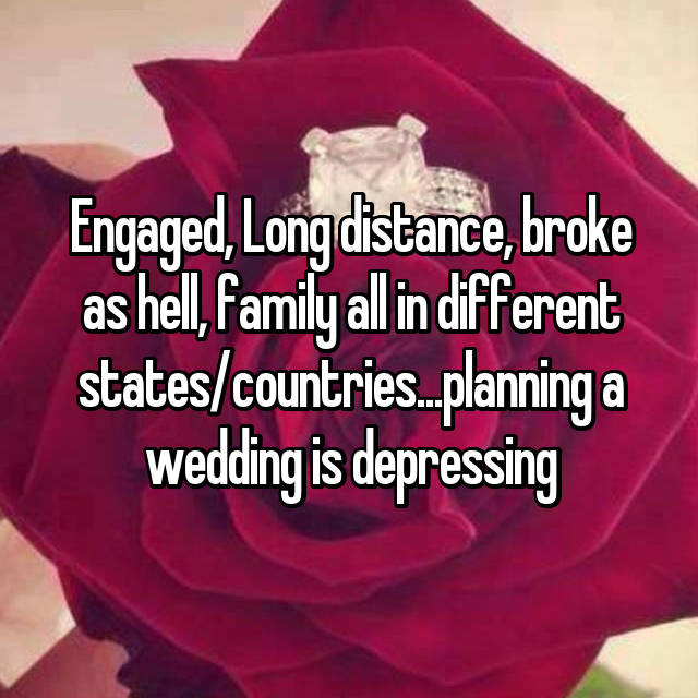 Engaged, Long distance, broke as hell, family all in different states/countries...planning a wedding is depressing