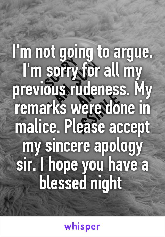 my sincere apologies