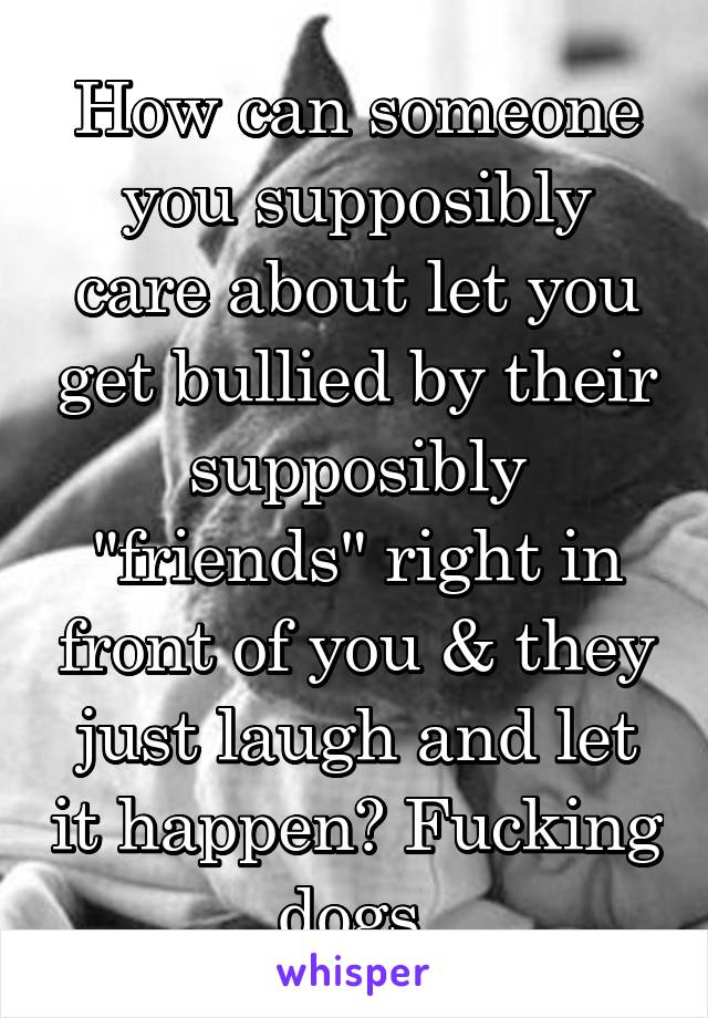 """How can someone you supposibly care about let you get bullied by their supposibly """"friends"""" right in front of you & they just laugh and let it happen? Fucking dogs."""