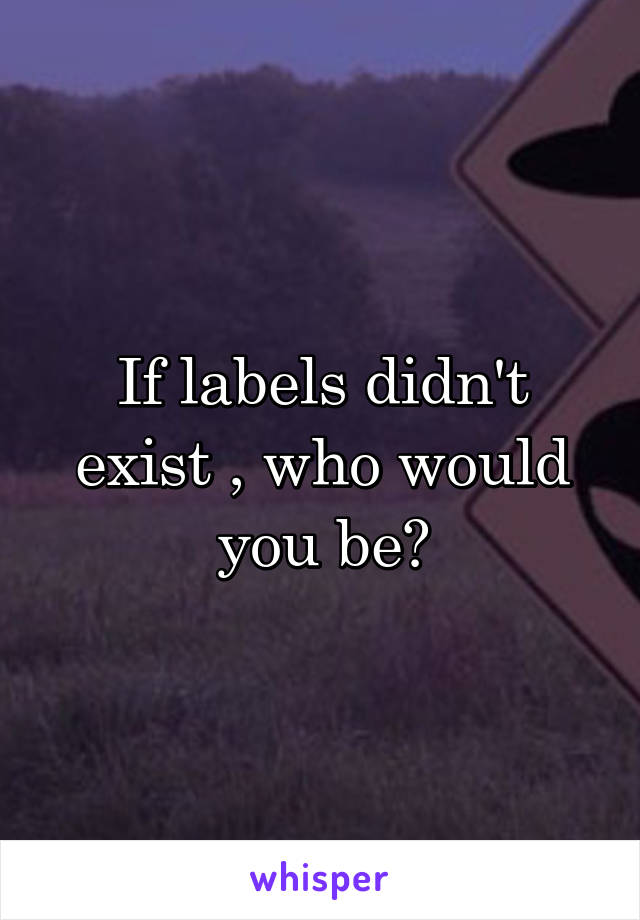 If labels didn't exist , who would you be?