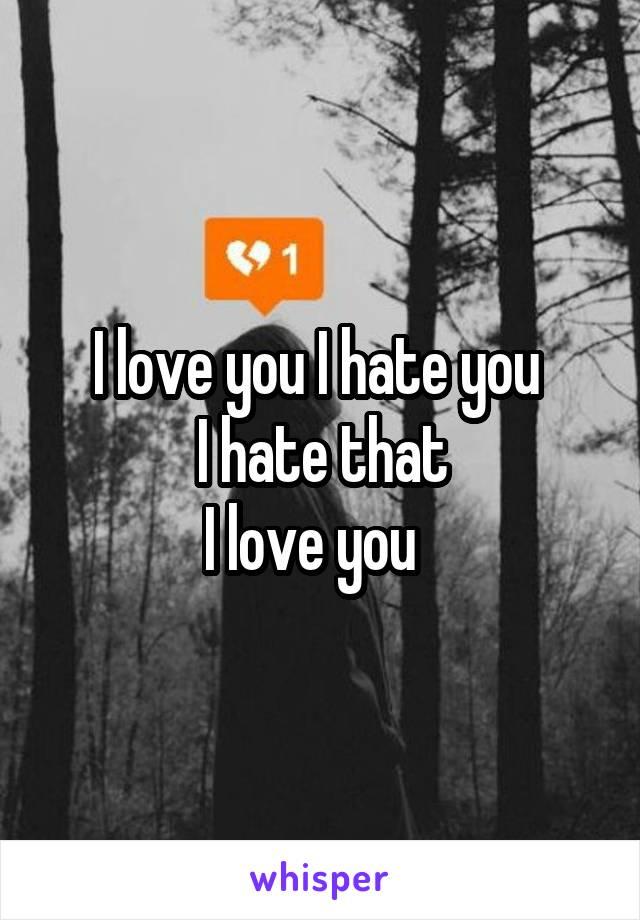 I love you I hate you  I hate that I love you