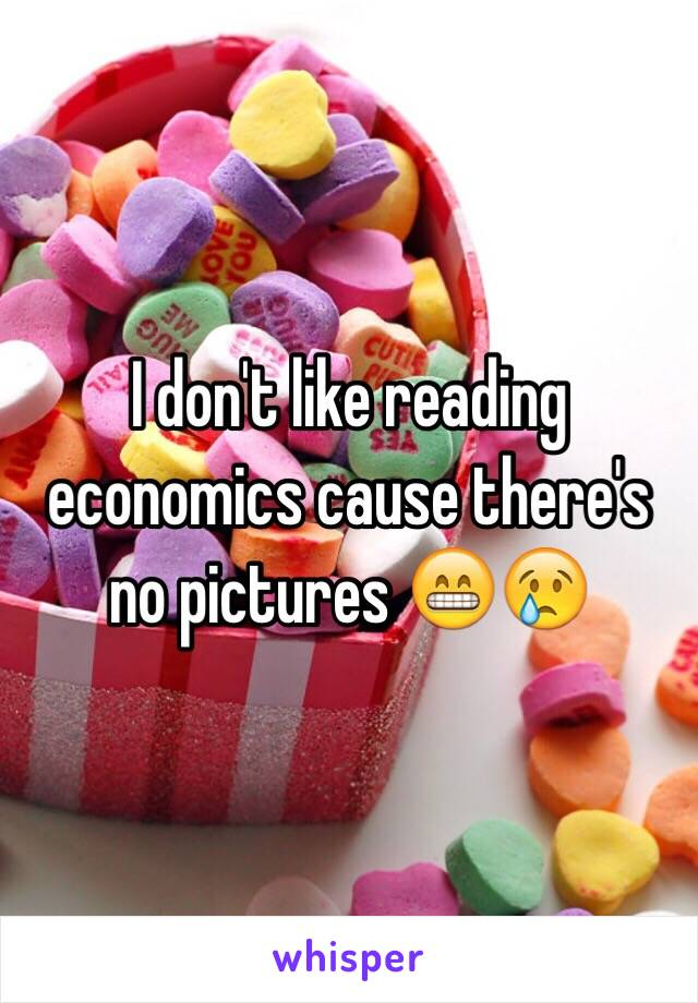 I don't like reading economics cause there's no pictures 😁😢