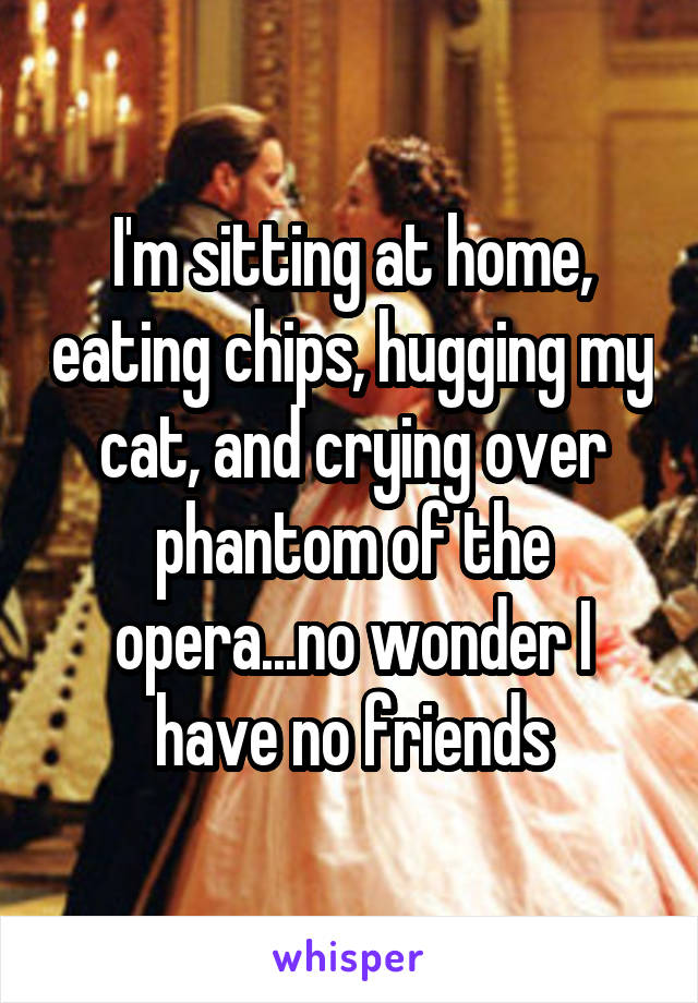 I'm sitting at home, eating chips, hugging my cat, and crying over phantom of the opera...no wonder I have no friends