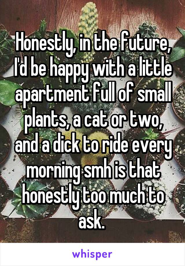 Honestly, in the future, I'd be happy with a little apartment full of small plants, a cat or two, and a dick to ride every morning smh is that honestly too much to ask.