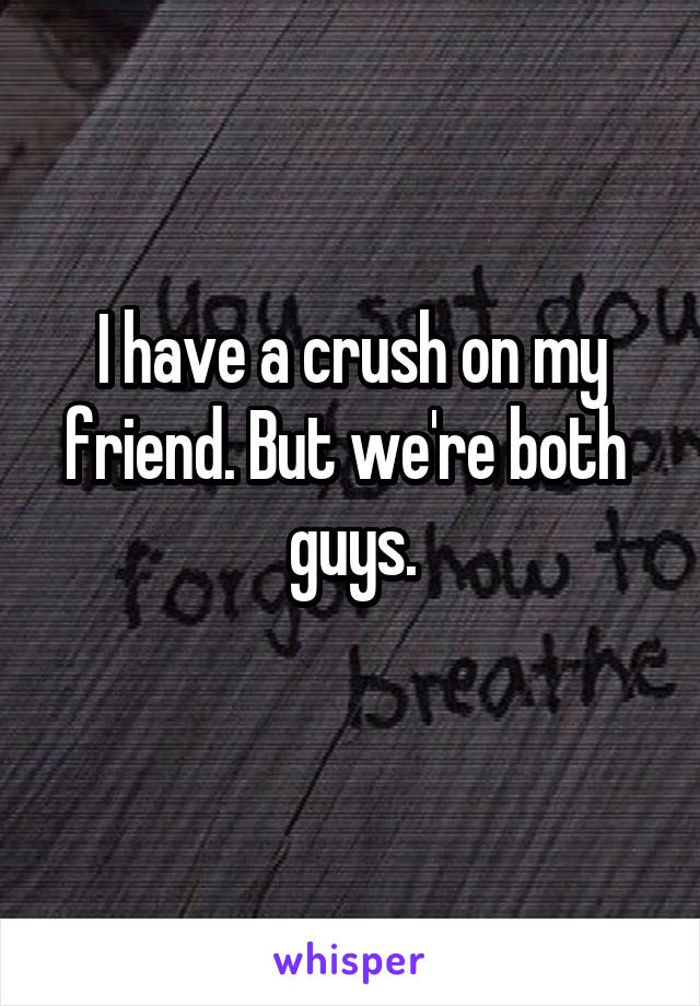 I have a crush on my friend. But we're both  guys.