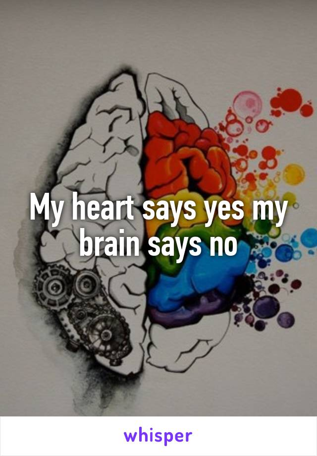 My heart says yes my brain says no