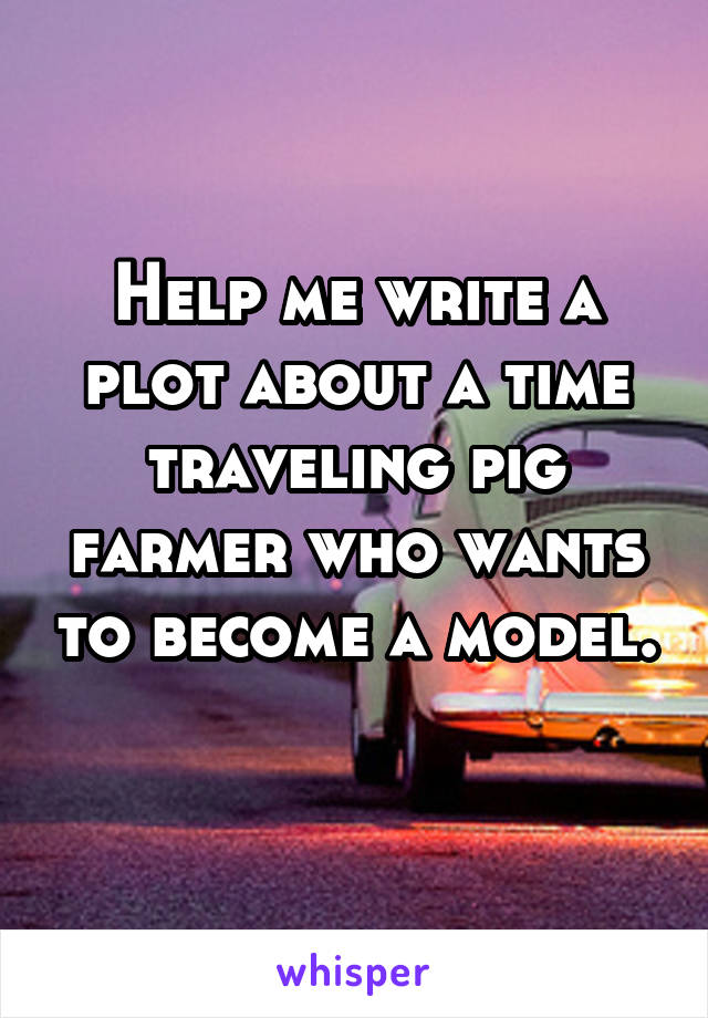 Help me write a plot about a time traveling pig farmer who wants to become a model.