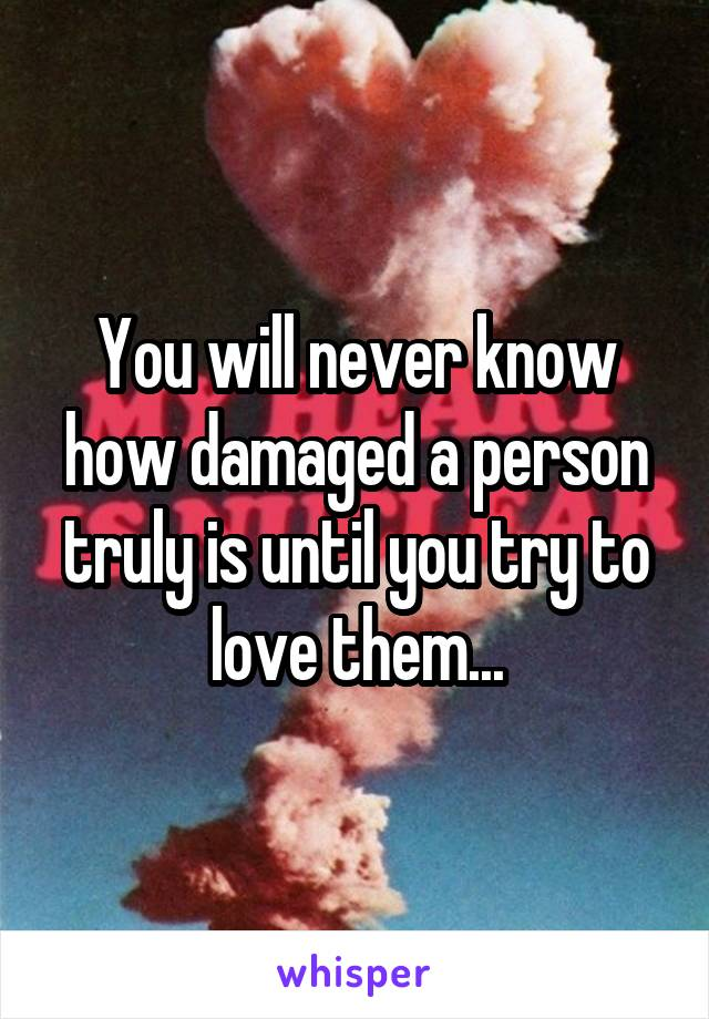 You will never know how damaged a person truly is until you try to love them...