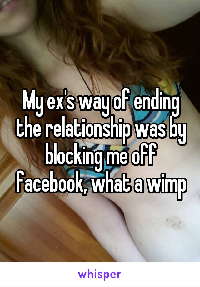 My ex's way of ending the relationship was by blocking me off facebook, what a wimp
