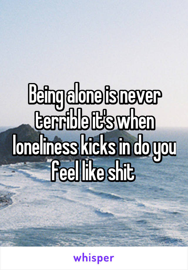 Being alone is never terrible it's when loneliness kicks in do you feel like shit