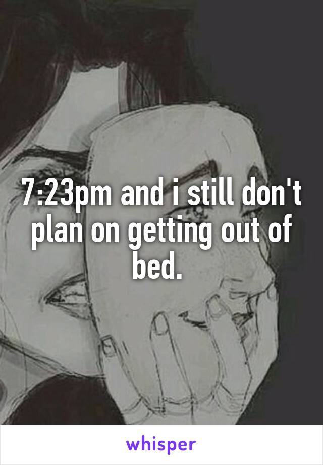 7:23pm and i still don't plan on getting out of bed.