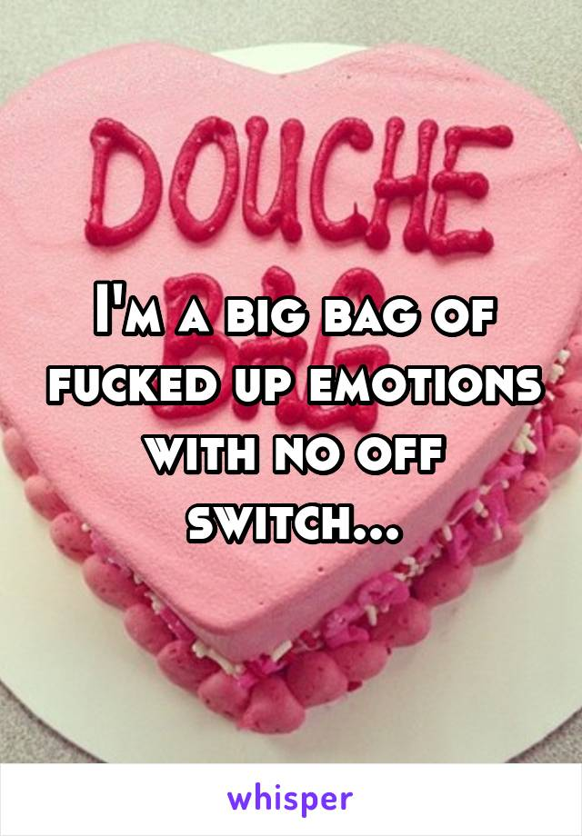 I'm a big bag of fucked up emotions with no off switch...