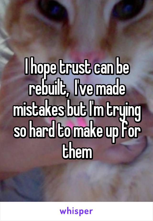 I hope trust can be rebuilt,  I've made mistakes but I'm trying so hard to make up for them