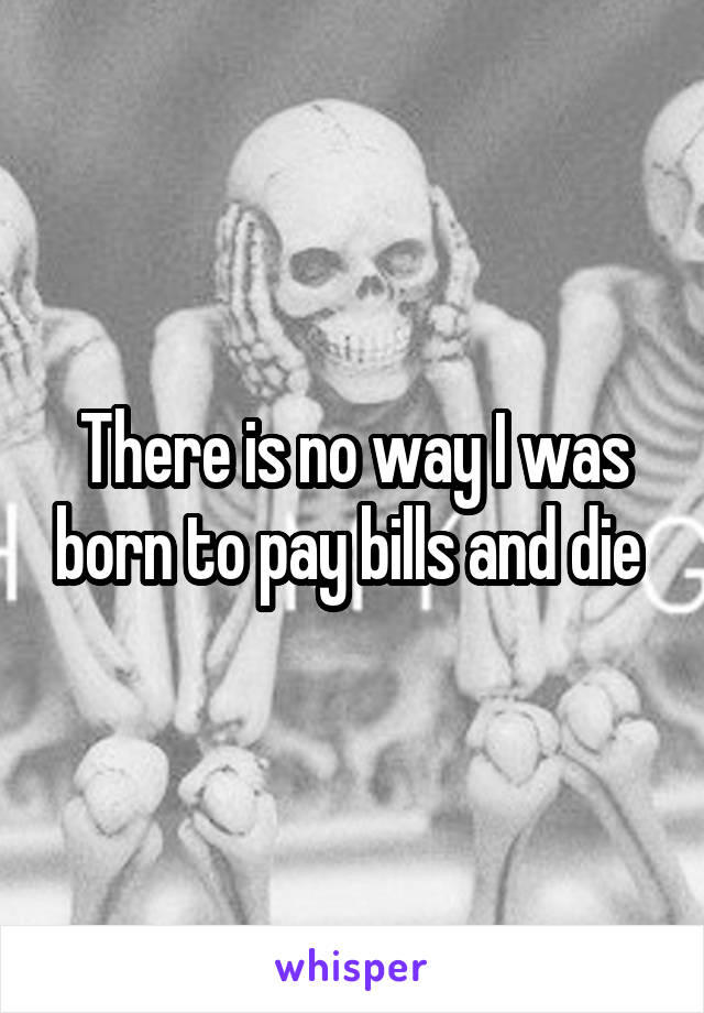 There is no way I was born to pay bills and die