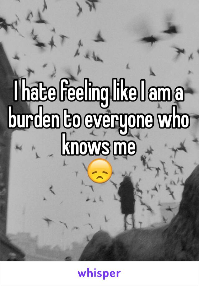 I hate feeling like I am a burden to everyone who knows me  😞