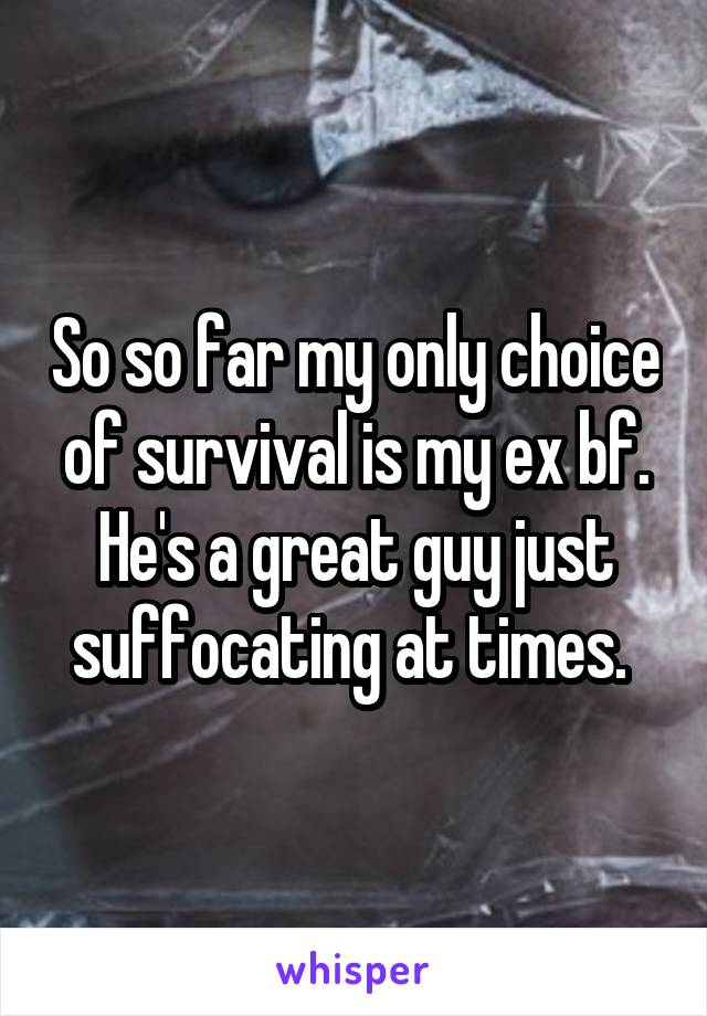 So so far my only choice of survival is my ex bf. He's a great guy just suffocating at times.